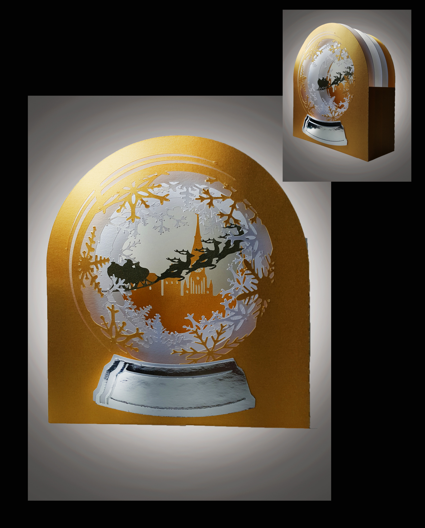 3D Snow Globe Snowy Village greetings card example image 1