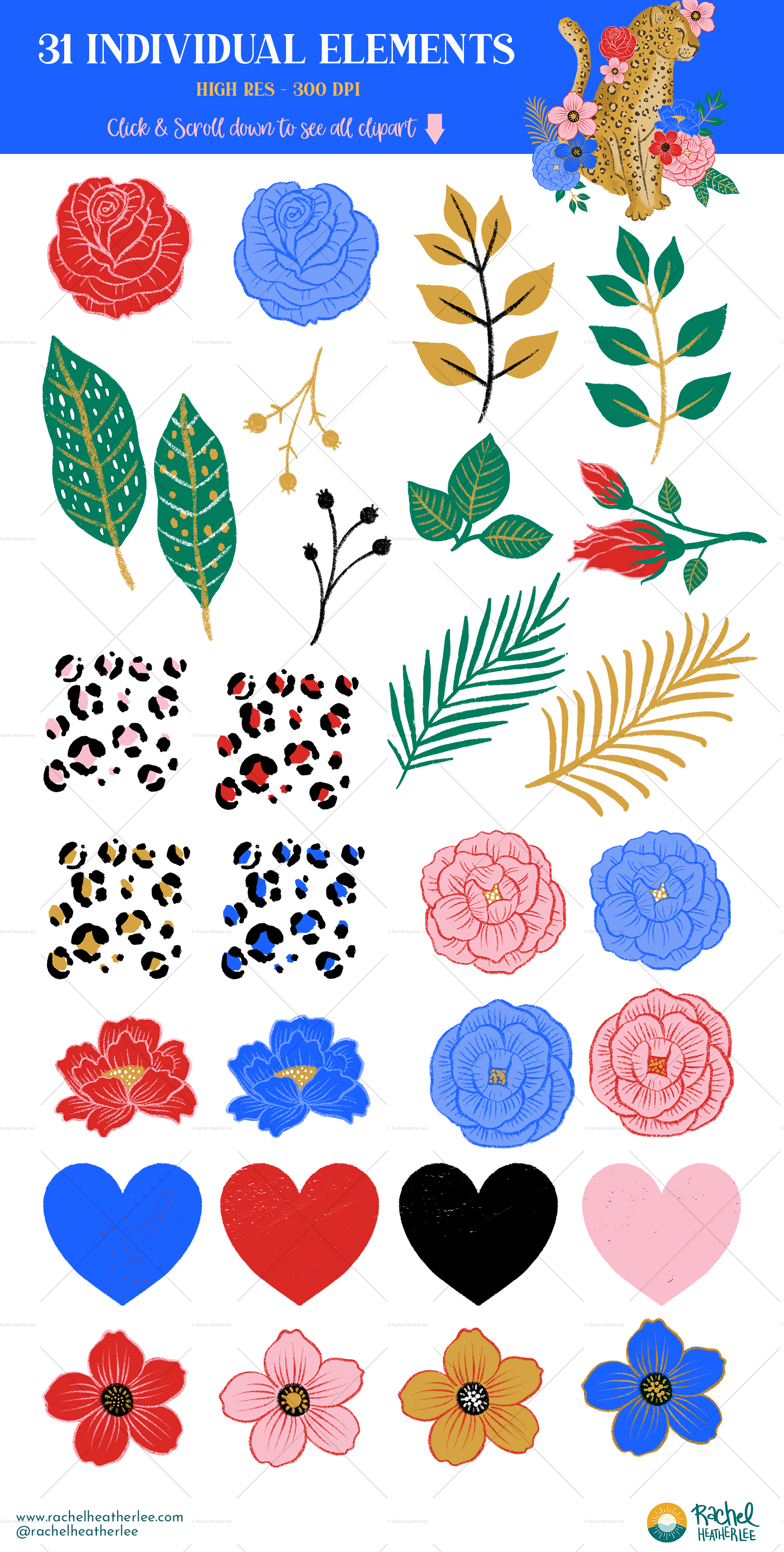 Leopard Floral Clipart & Patterns example image 7