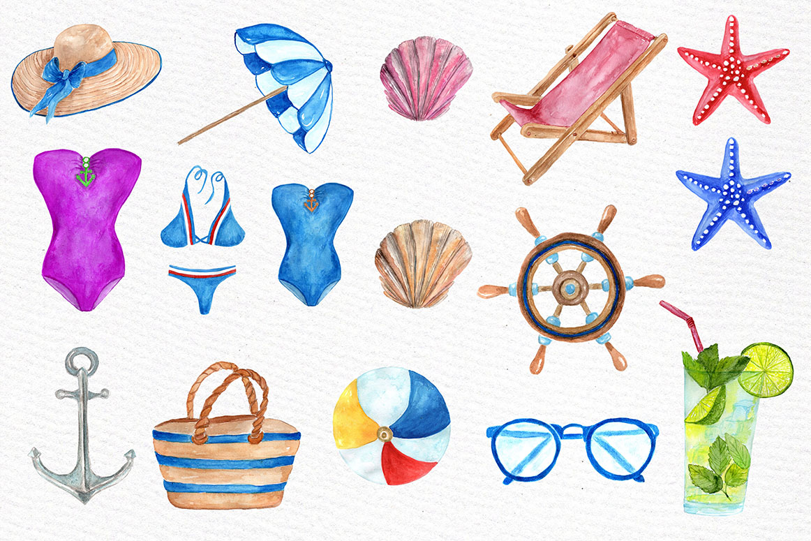 Watercolor summer clipart example image 2