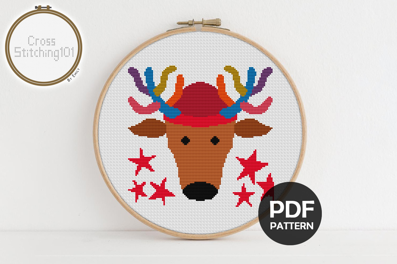 X-Mas Deer Cross Stitch Pattern - Instant Download PDF example image 1