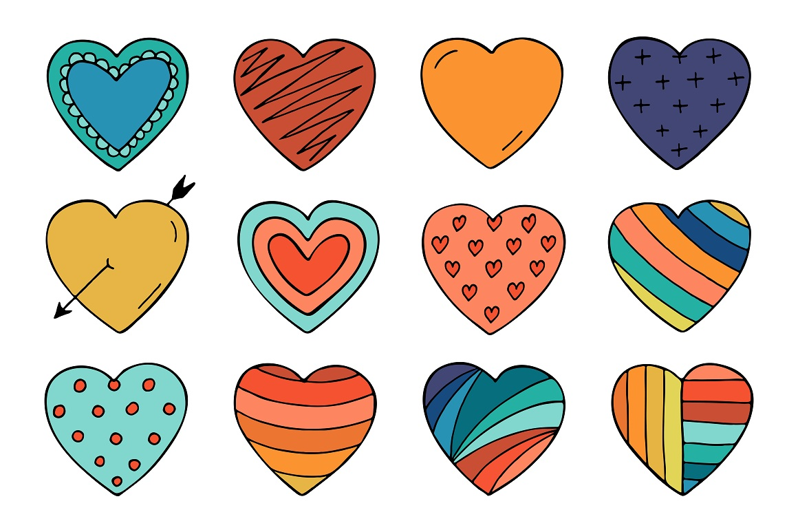 Collection of color hearts + pattern example image 3