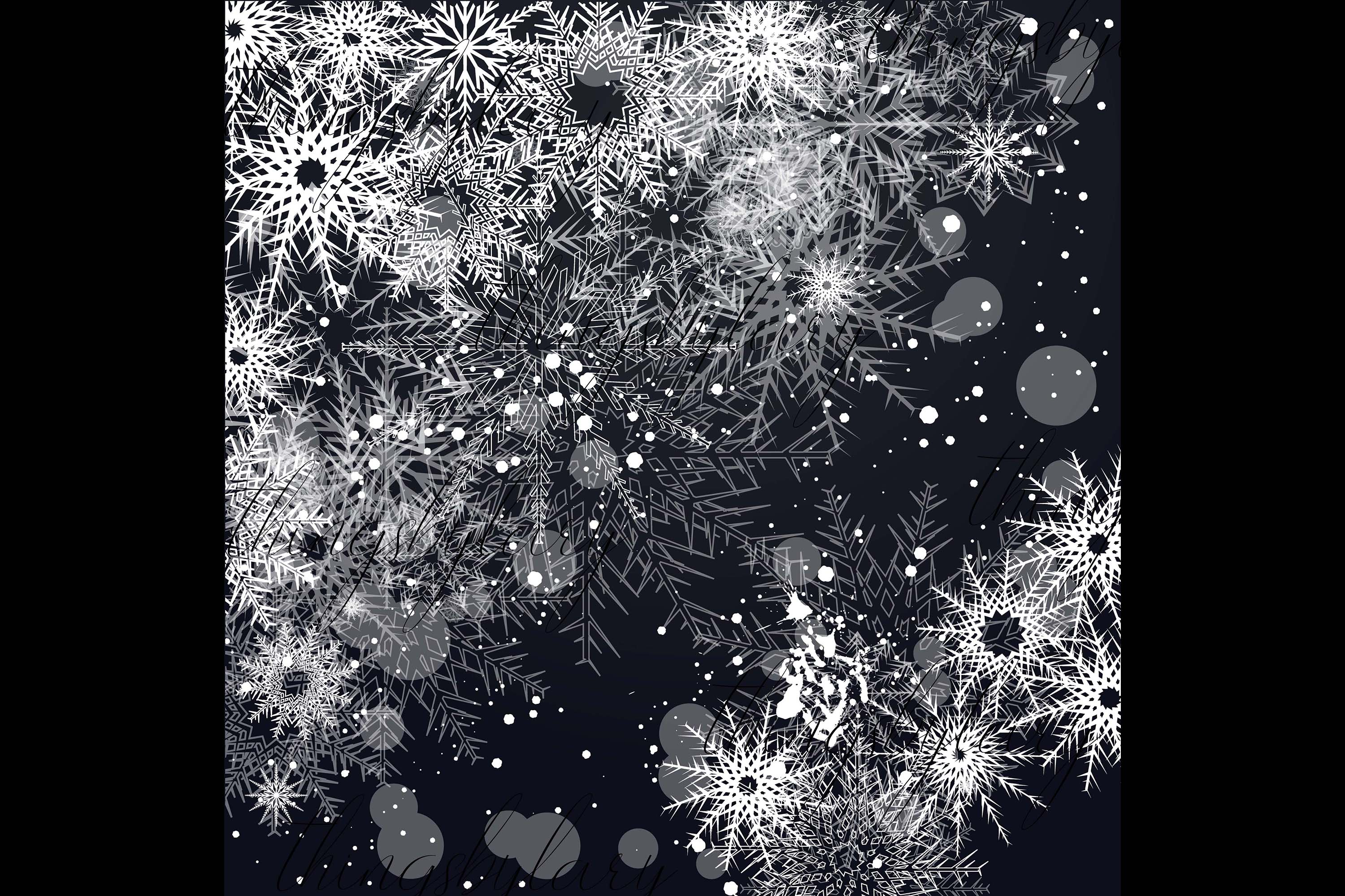 27 Falling Snowflakes Overlay Digital Images PNG Transparent example image 5