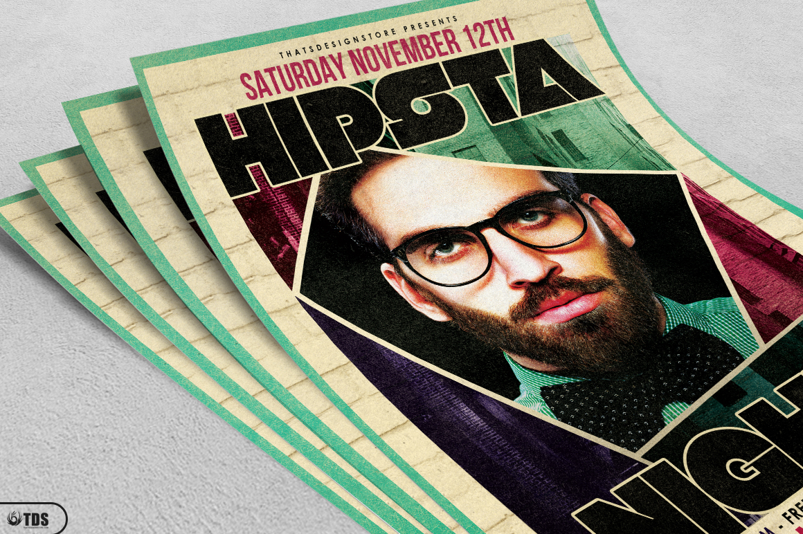 Hipsta Night Flyer Template example image 3