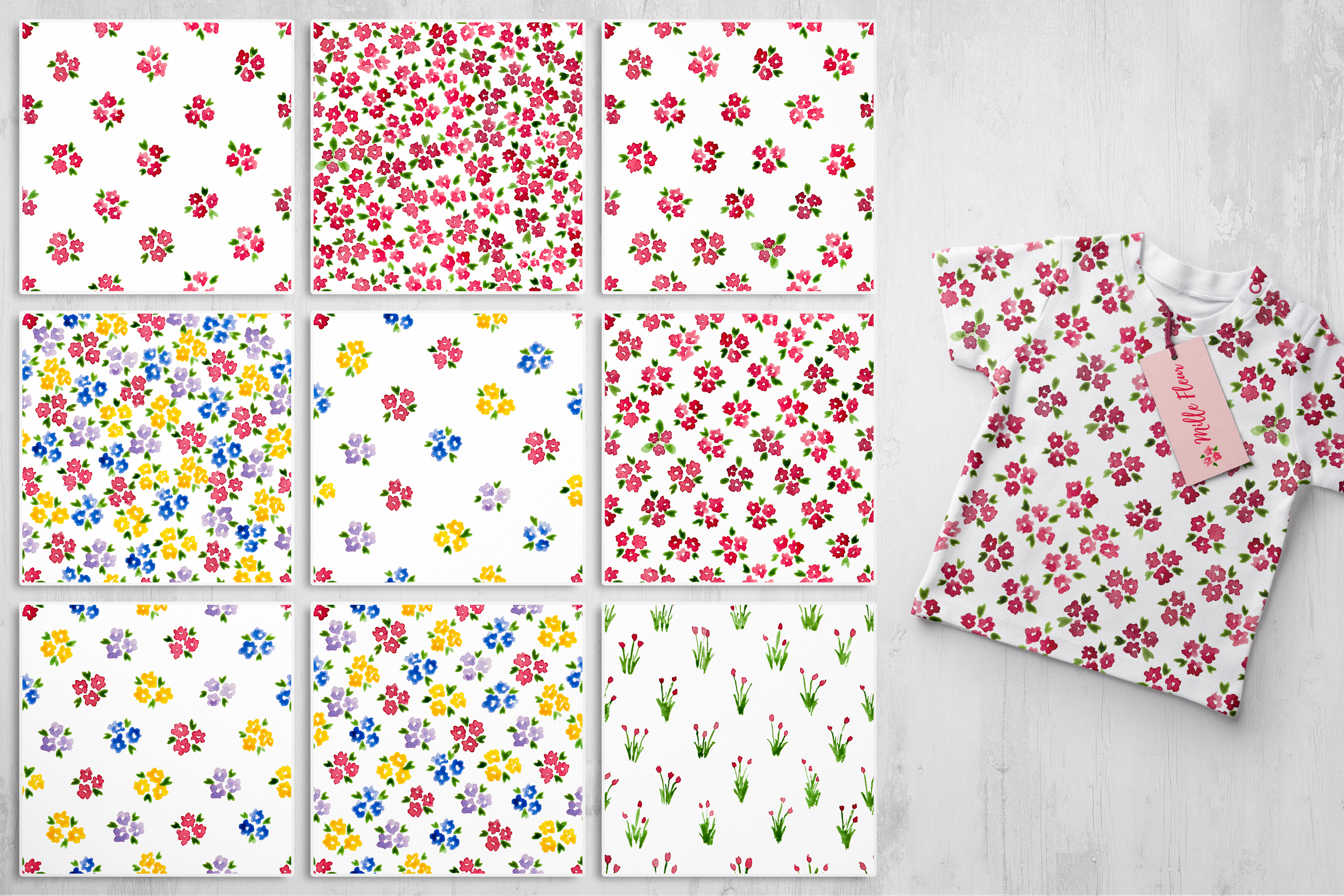 Mille Fleur - 36 watercolor patterns example image 5