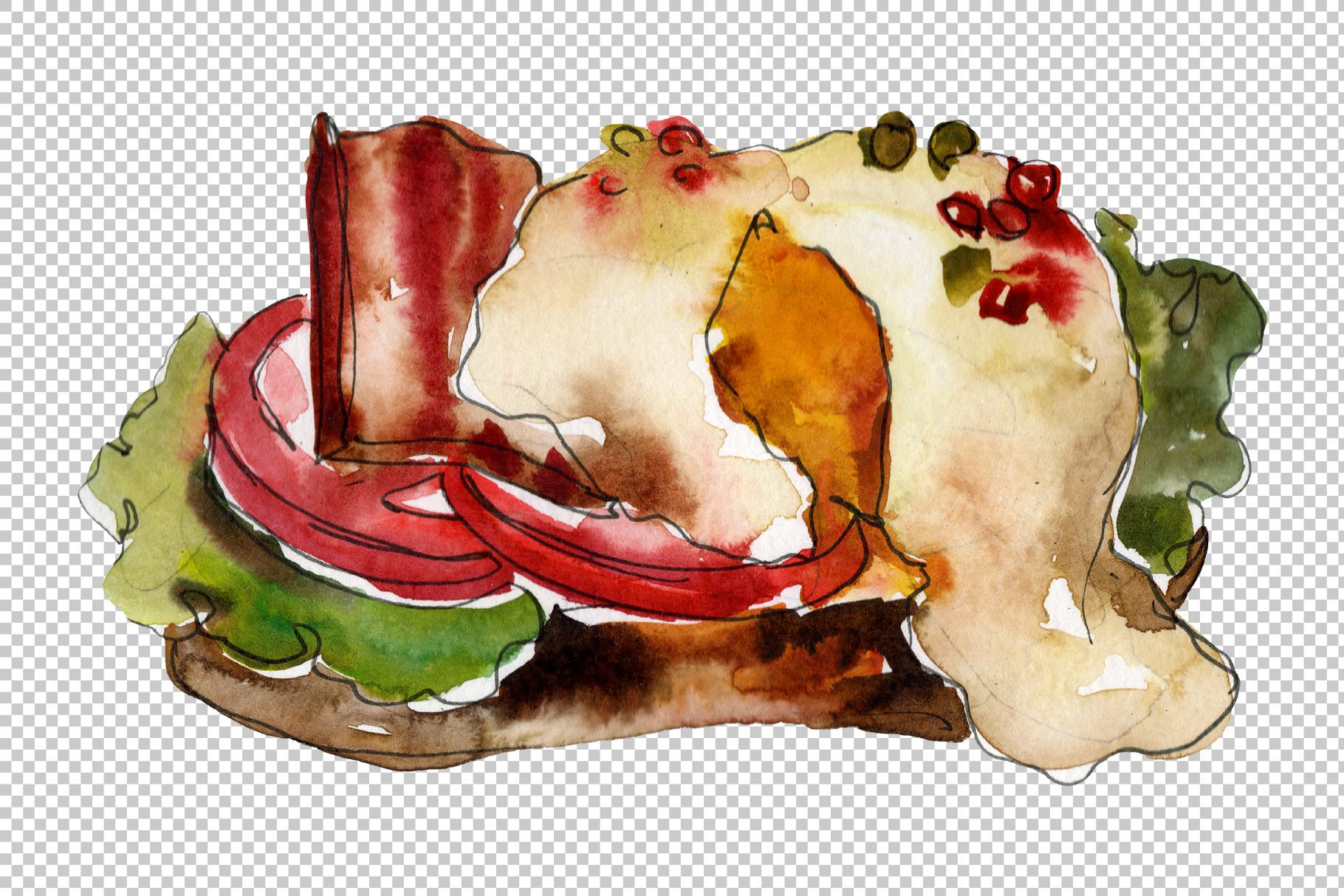 Sandwich sausage Watercolor png example image 6