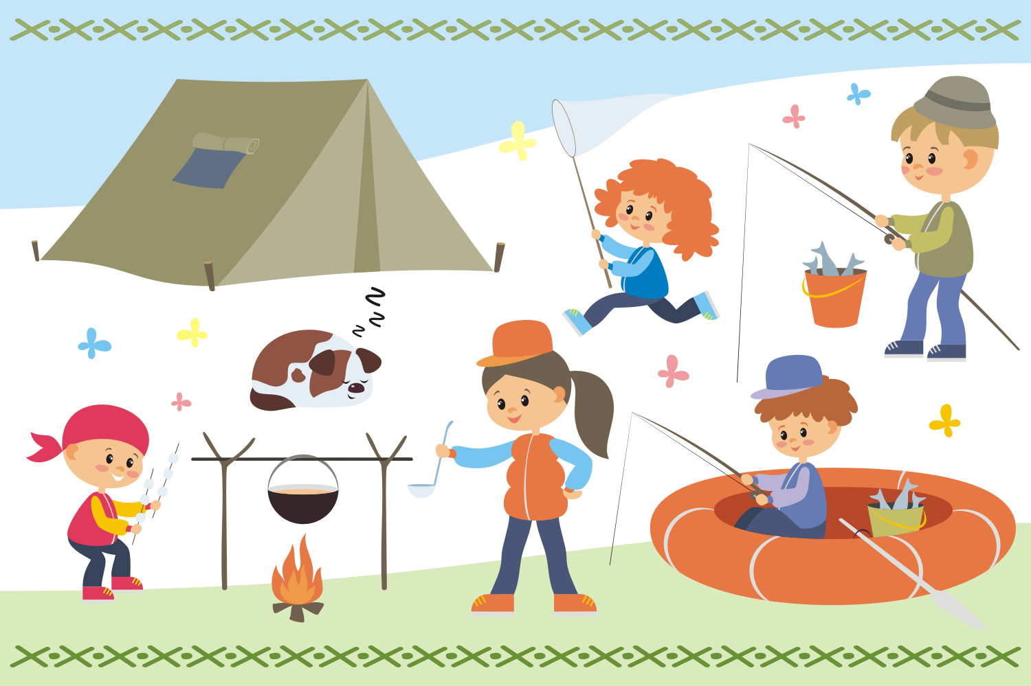 Camping life. Vector cliparts. example image 2