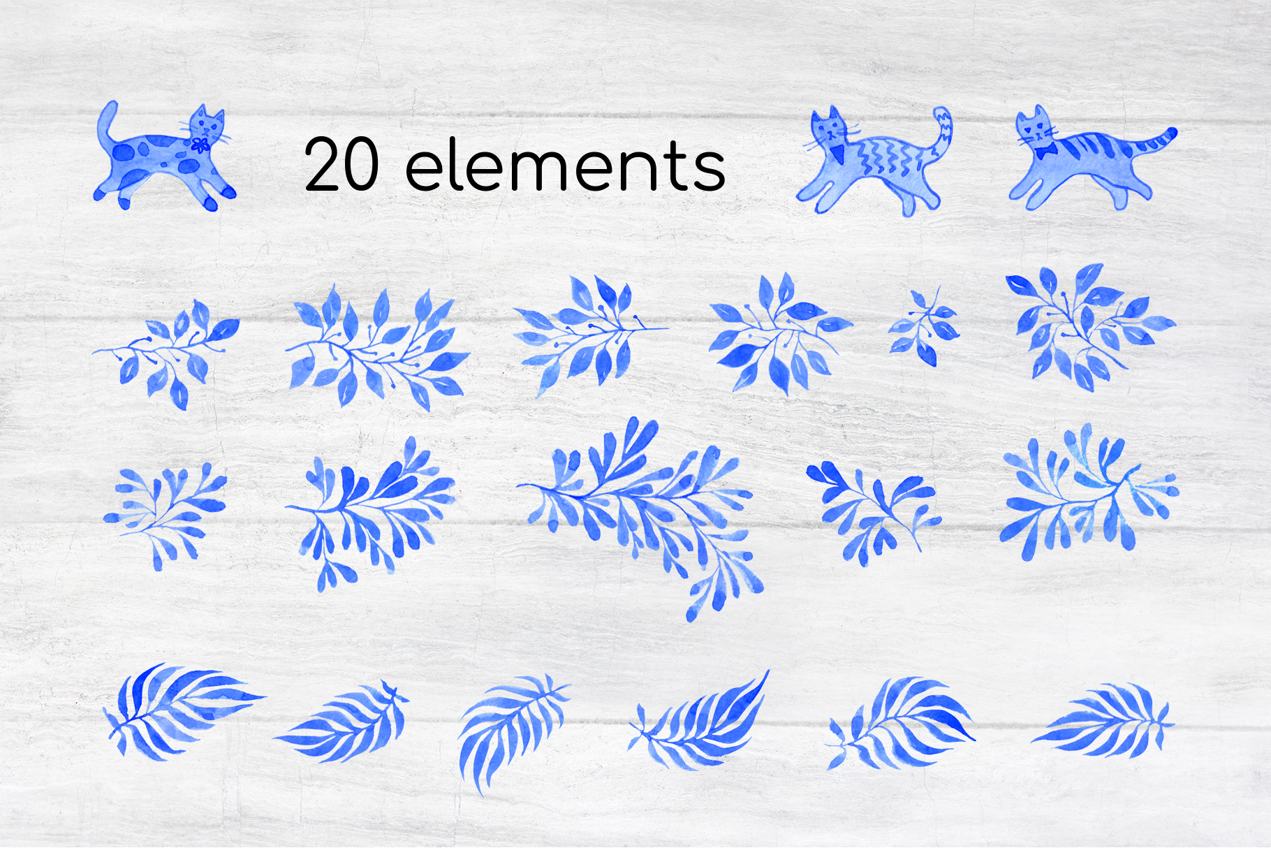 Cats in Blue Garden Patterns and elements watercolor set example image 4