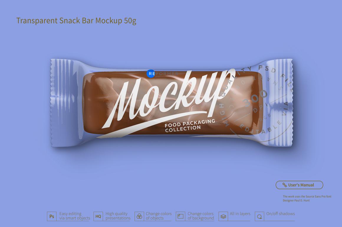 Transparent Chocolate Bar Mockup 50g example image 3