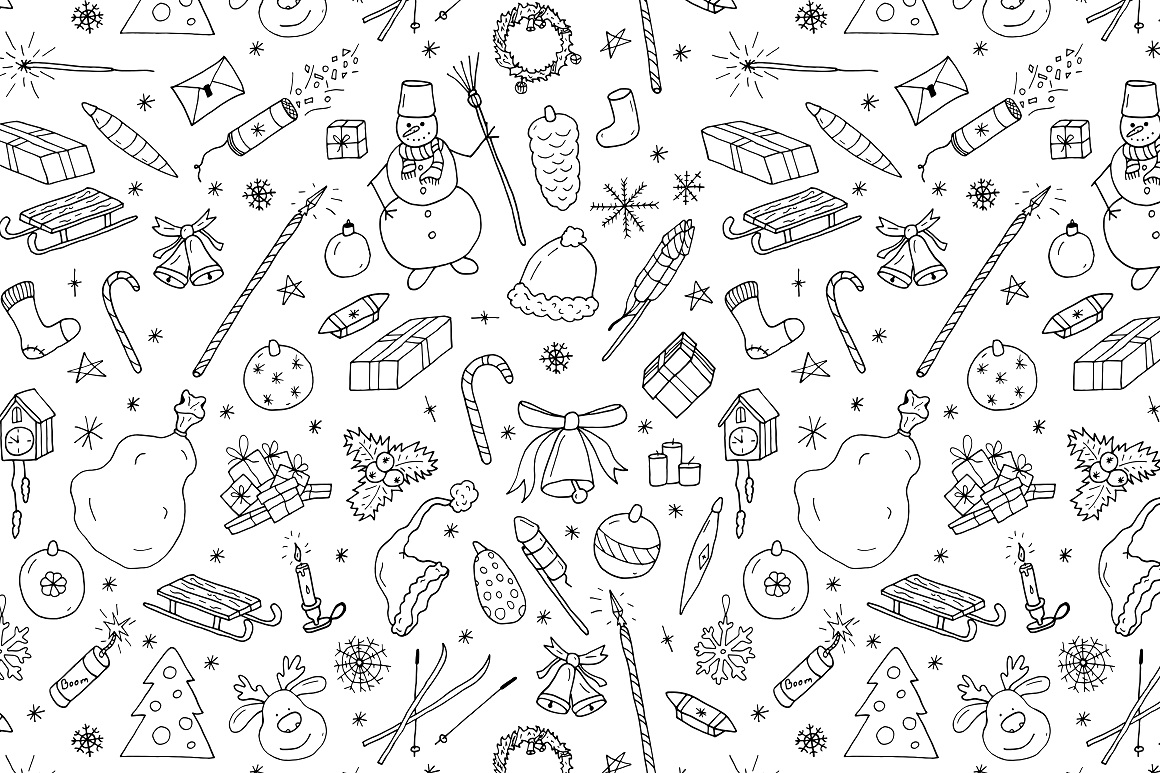 New Year seamless patterns example image 4