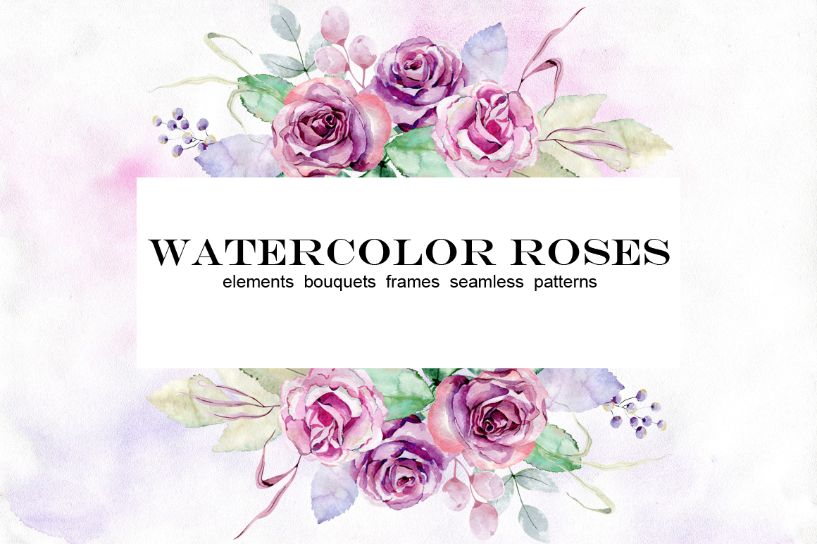 Watercolor roses. Set. example image 1