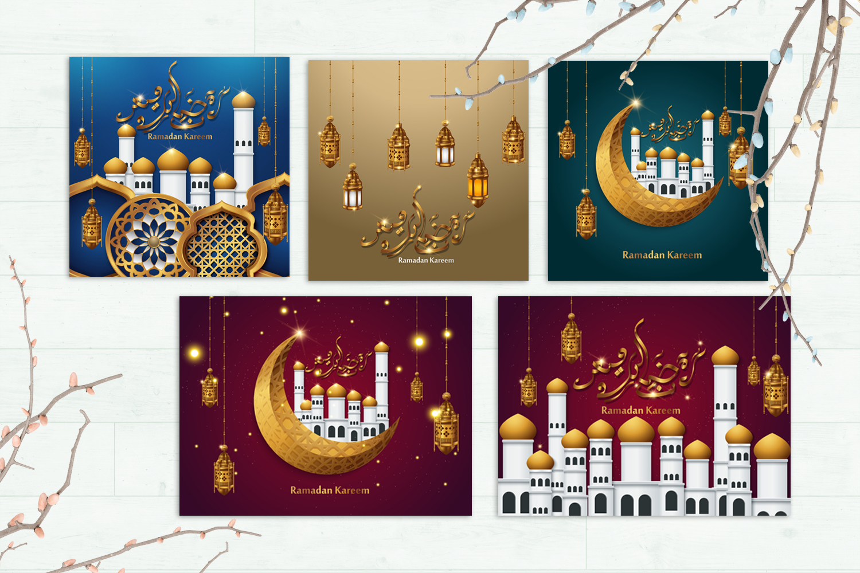 5 Ramadan Kareem, greeting background - VOL 1 example image 2