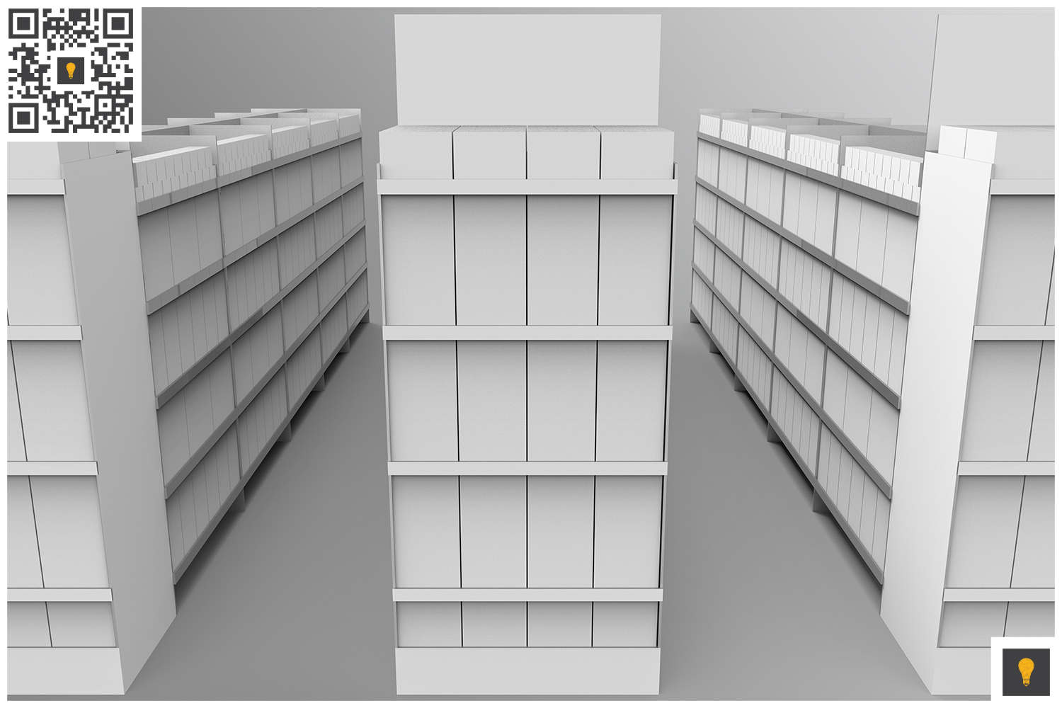 Aisle with Gondola Store 3D Render example image 3