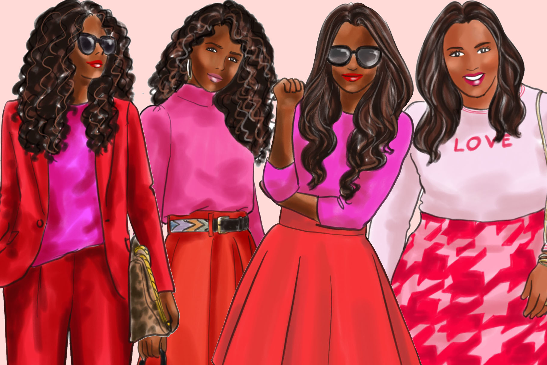 Fashion illustration clipart-Girls in Red and Pink-Dark skin example image 3