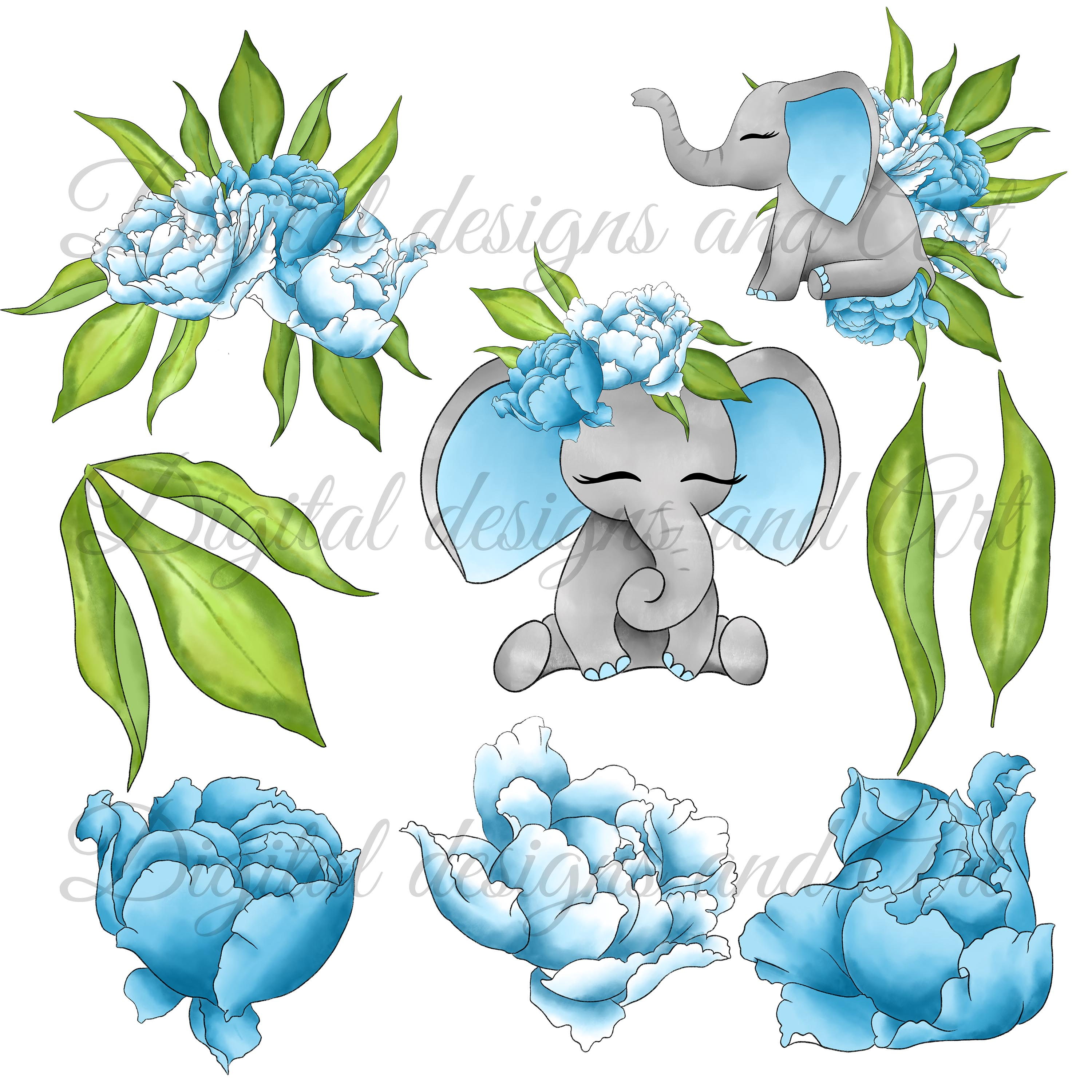 Baby elephant clipart example image 3