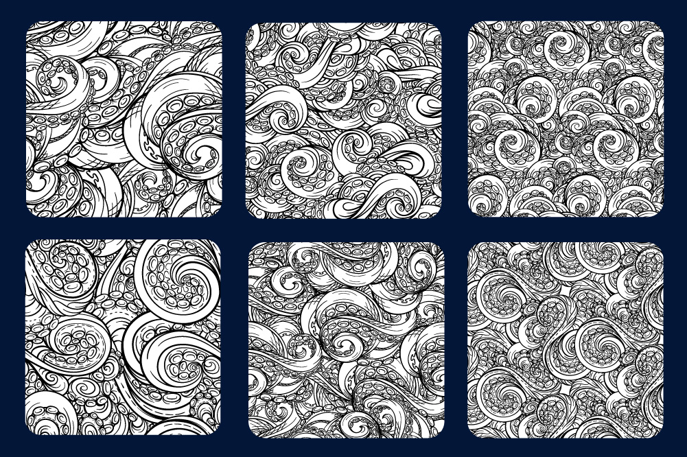 Black and white tentacles patterns set example image 3