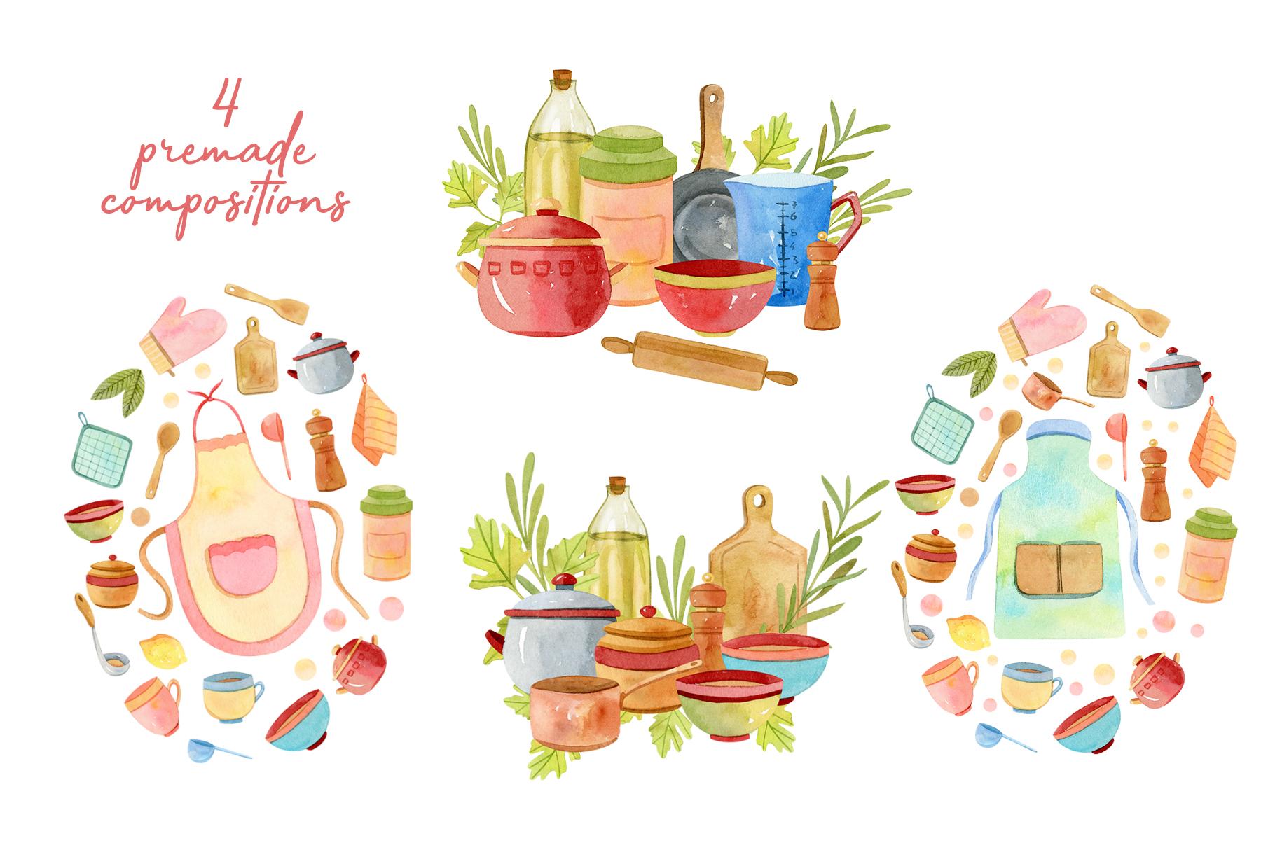 Watercolor Kitchen Utensils Set 2 example image 4