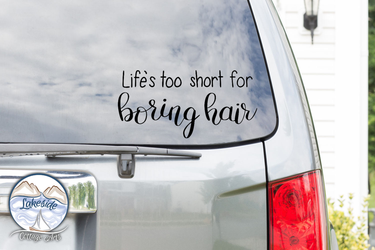 Life's Too Short for Boring Hair Hand-lettered SVG example image 2