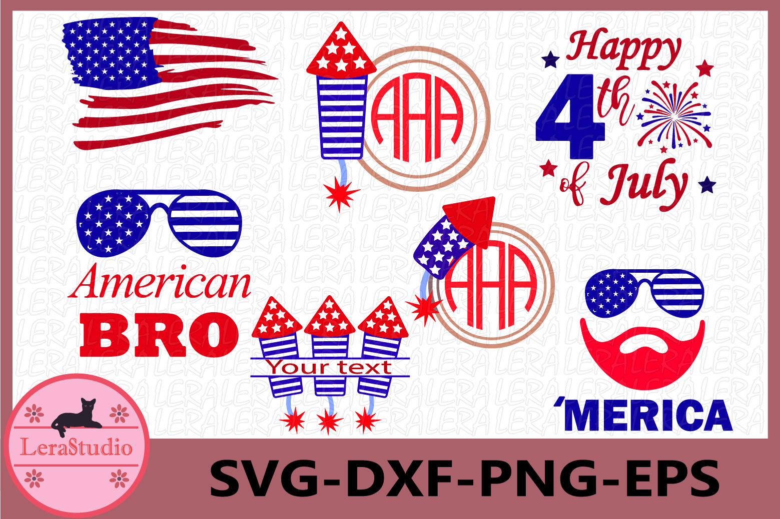 4th of July Svg, Fireworks Svg, Fourth of July Monogram example image 1