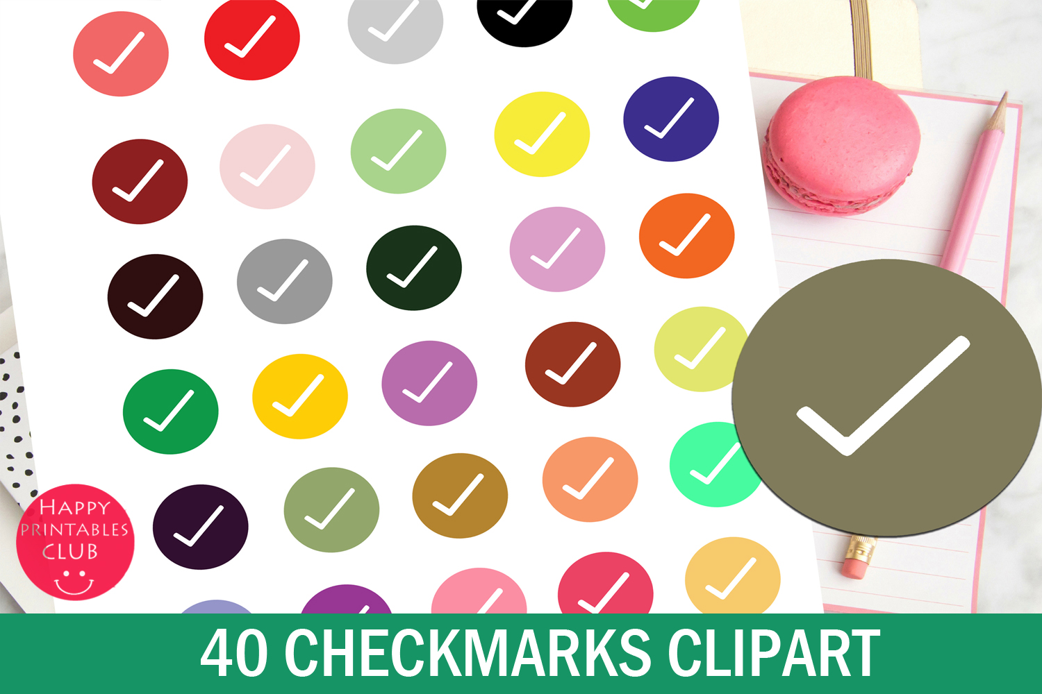 40 CheckMarks Clipart-Checkmark Icons-School Stickers example image 2