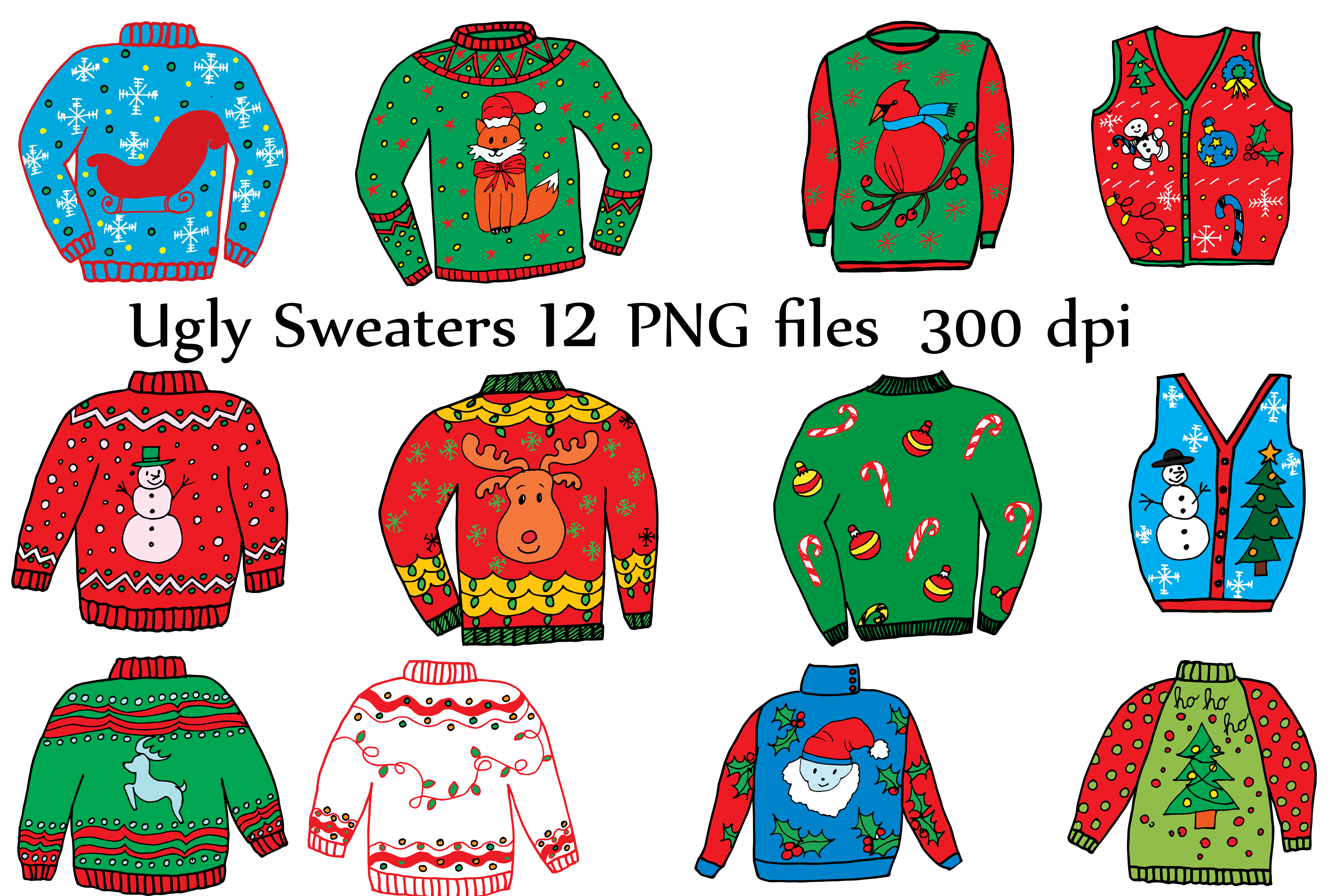 Christmas Sweater Clipart.Ugly Christmas Sweater Clipart