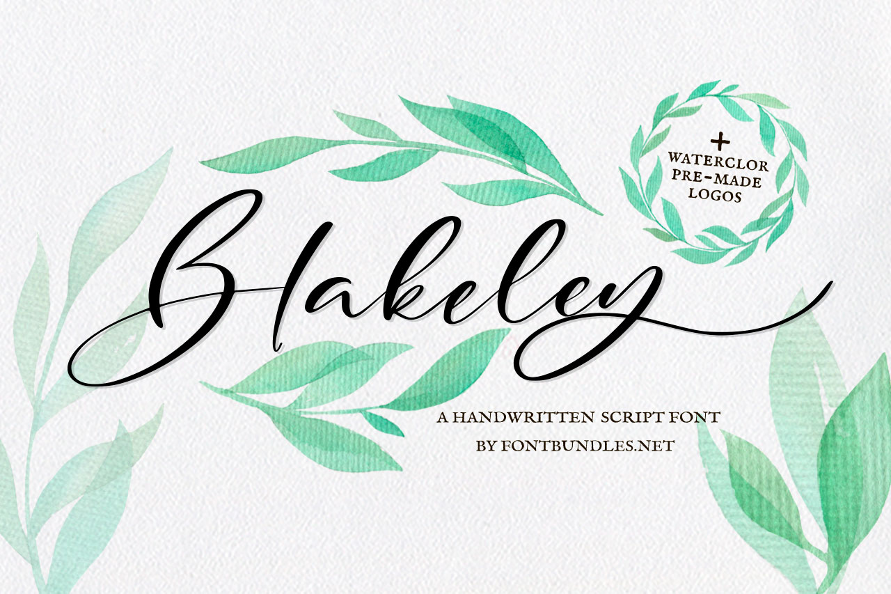 Blakeley Script Font & Watercolor Logos example image 1