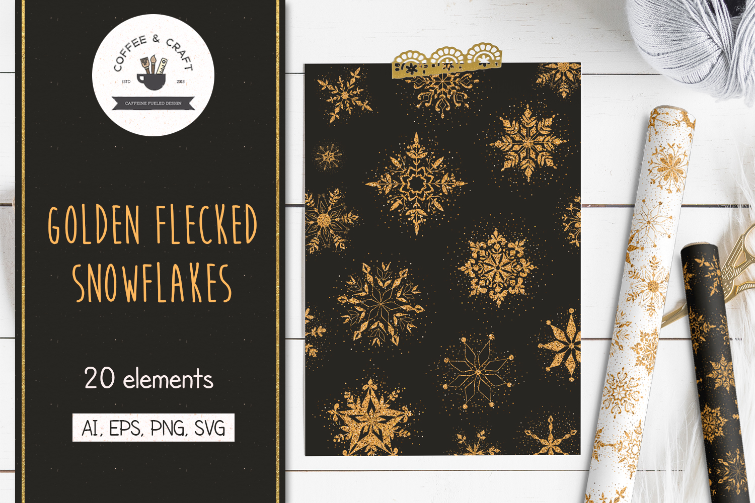 Golden Flecked Snowflakes example image 1