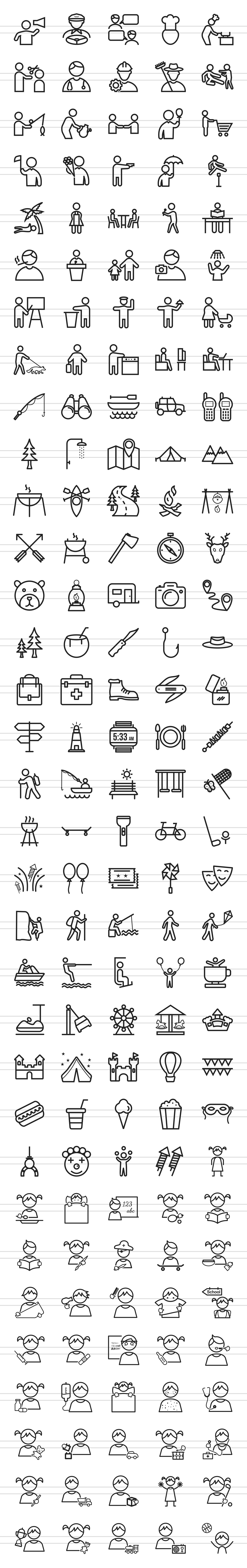 166 Activities Line Icons example image 2