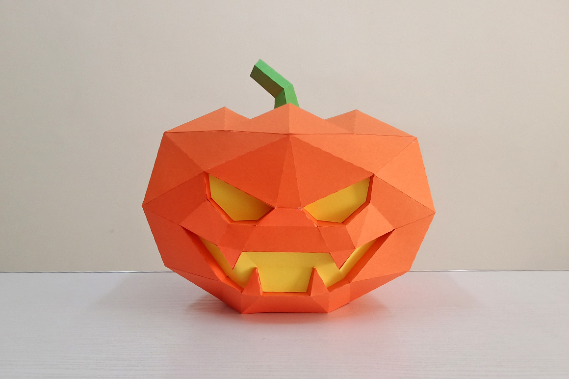 DIY Halloween Pumpkin lamp - 3d papercraft example image 3