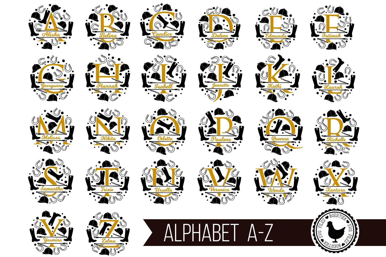Split letters A-Z horse riding, alphabet, cut/sublimation example image 5