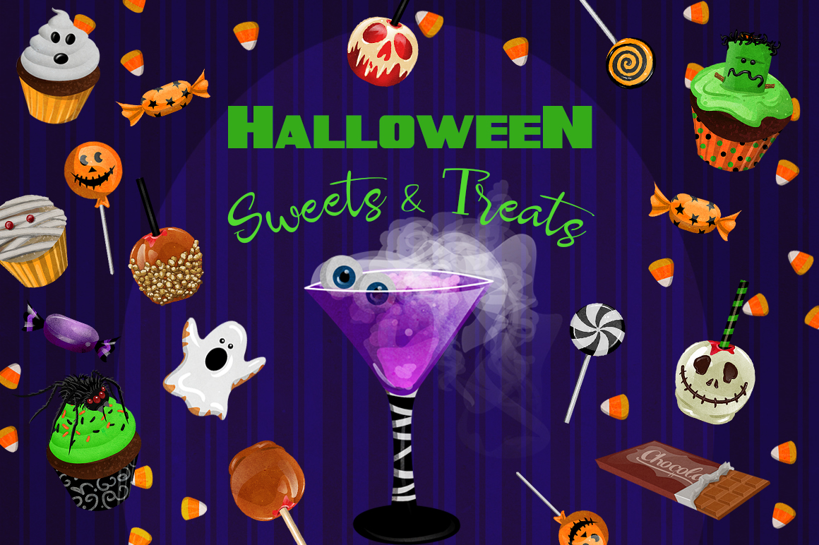 Halloween Sweets & Treats Clipart example image 1