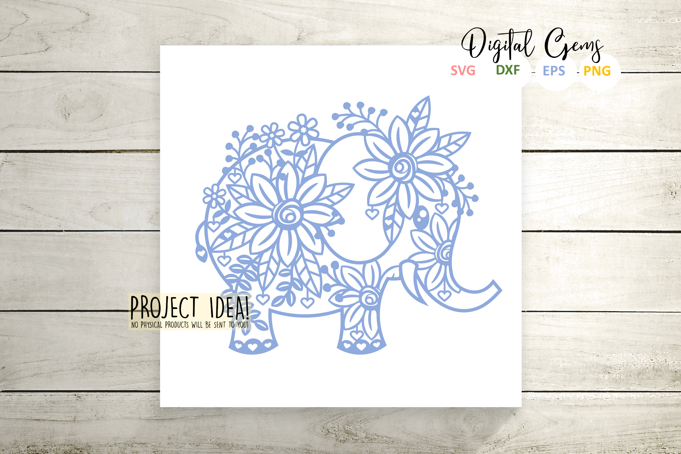 Elephant paper cut design SVG / DXF / EPS / PNG files example image 5