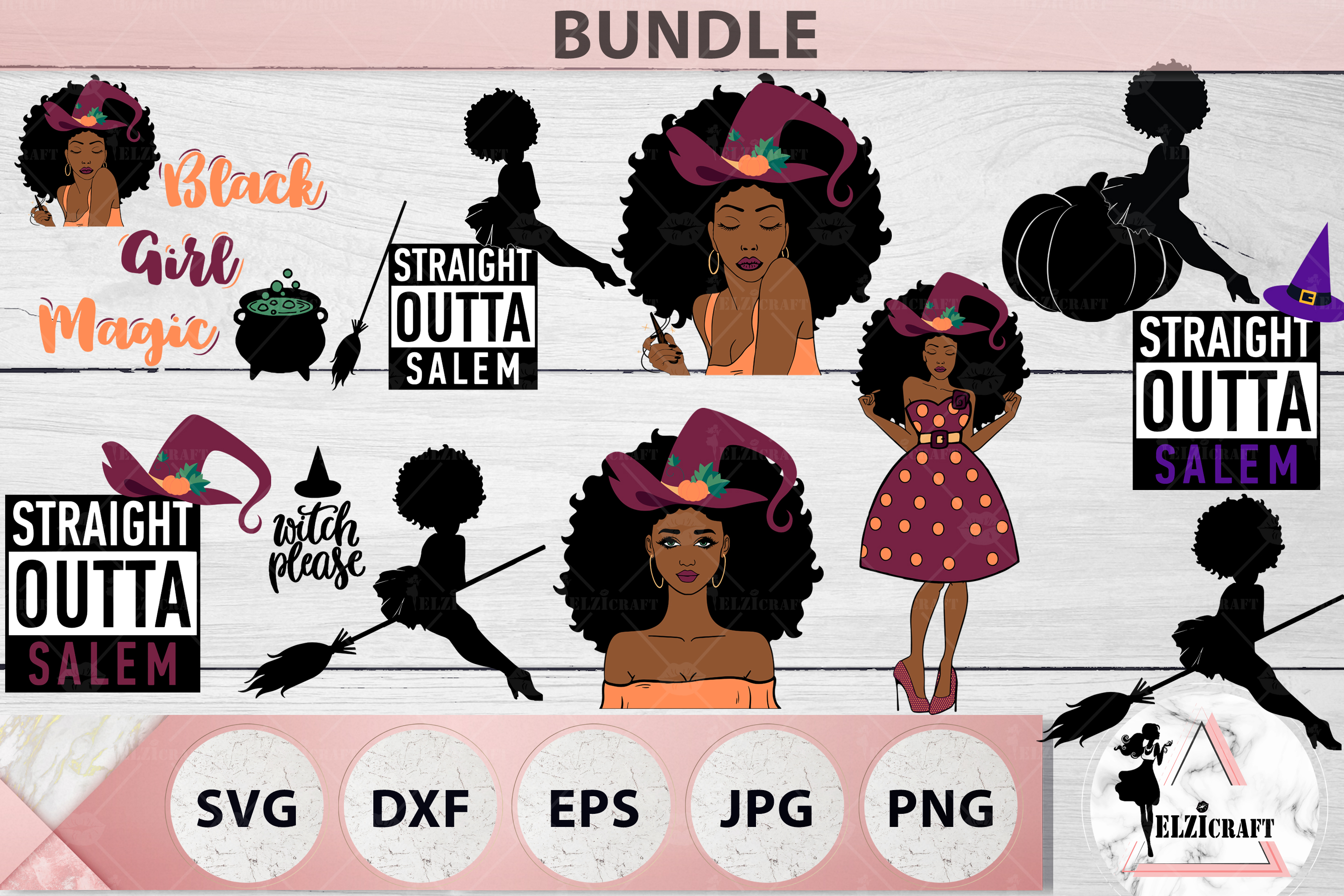 HALLOWEEN AFRO BUNDLE SVG Cut Files example image 4