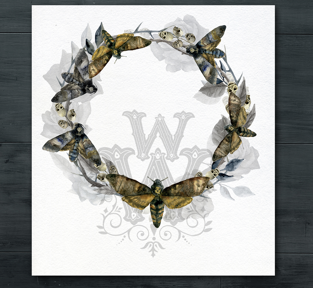 Watercolor Halloween compositions, skull bouquets wreath example image 5