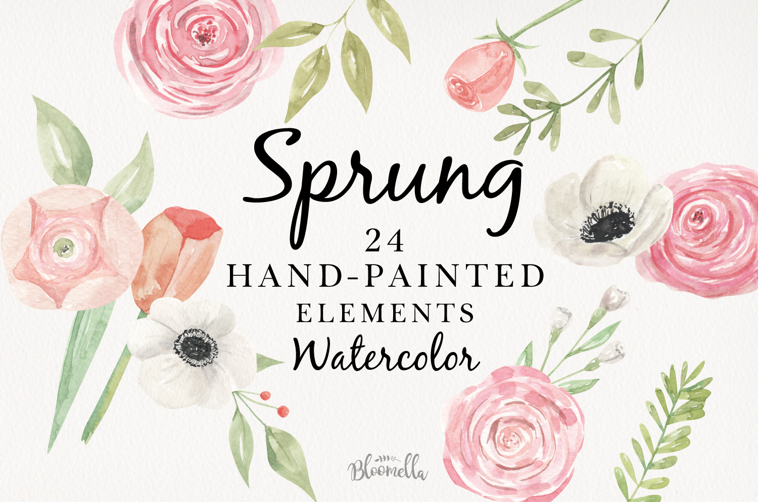 Sprung Watercolor Elements Flowers Pink Tulips Spring Peach example image 1