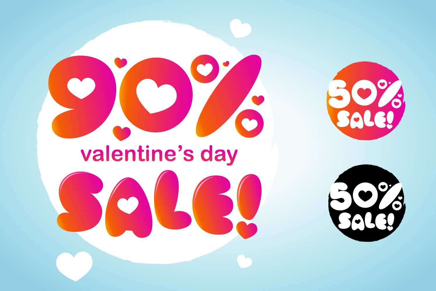 Valentine's Day Discount And Sale Number Design With Love Symbol example image 1