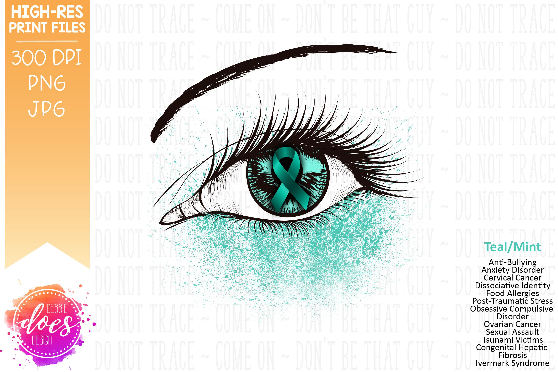 Teal/Mint Awareness Ribbon Eye Printable Design example image 2