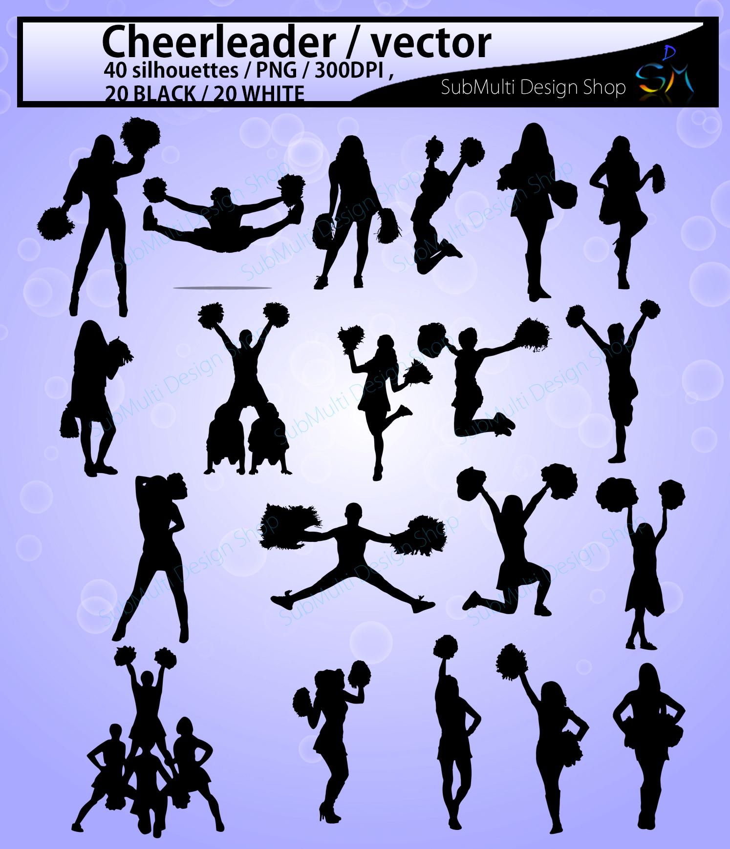 Cheerleaders SVG cut files / Cheerleader silhouette / Cheerleader clipart / instant download / vector Cheerleader/ EPS / SVG /Png / DXf example image 2