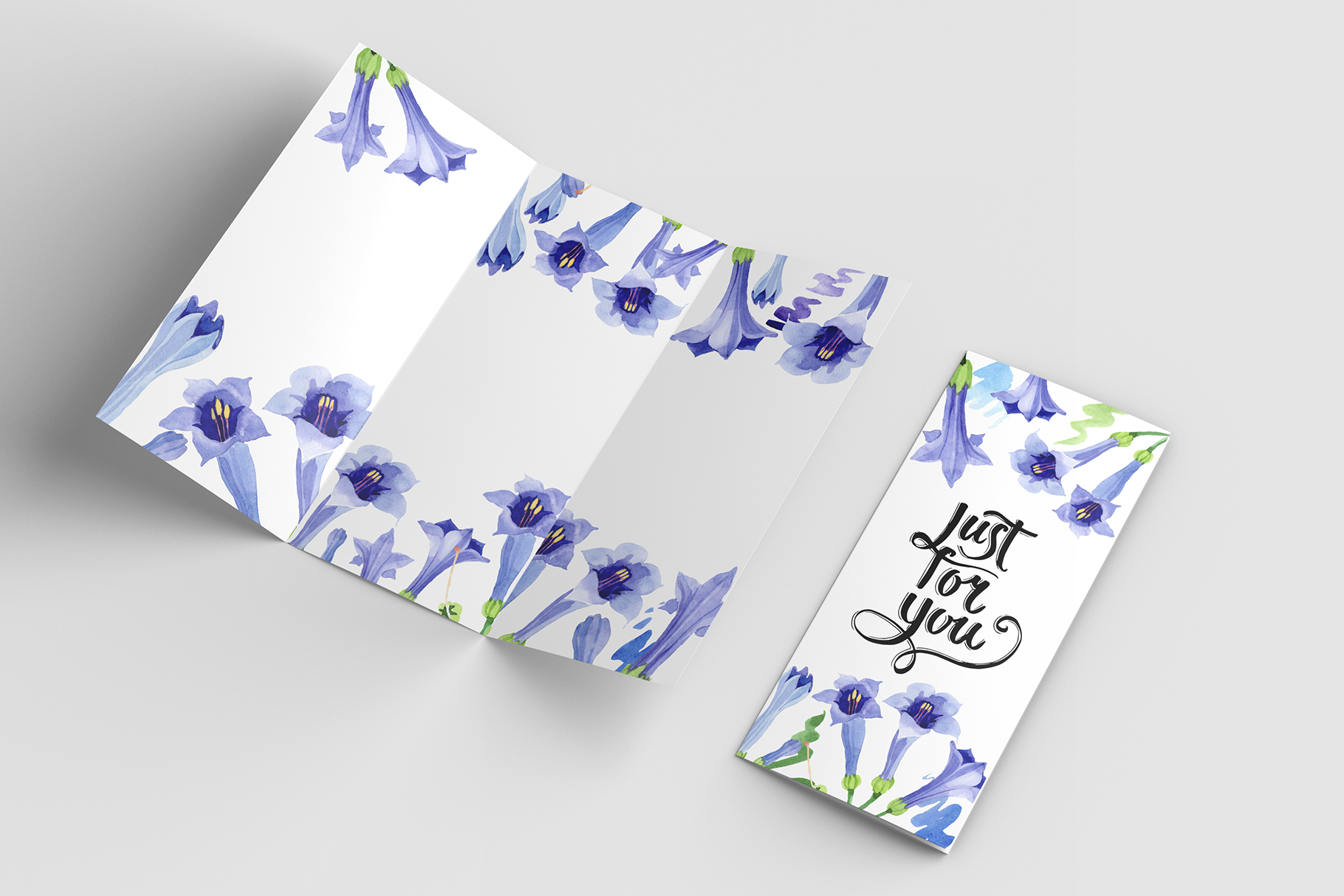 Blue brugmansia flower watercolor png example image 3
