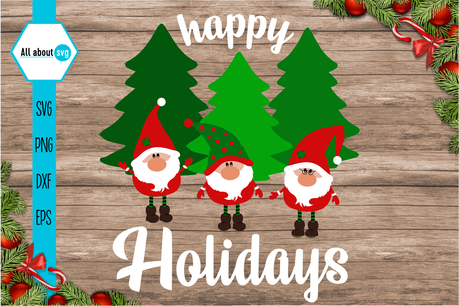 Happy Holidays Svg, Gnome Svg example image 2
