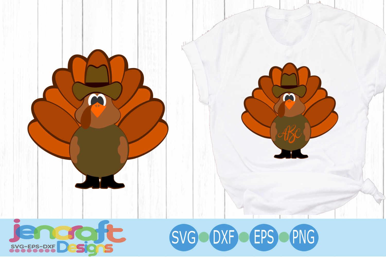 Western Turkey Thanksgiving Monogram Frame Cowboy Western Fa example image 1
