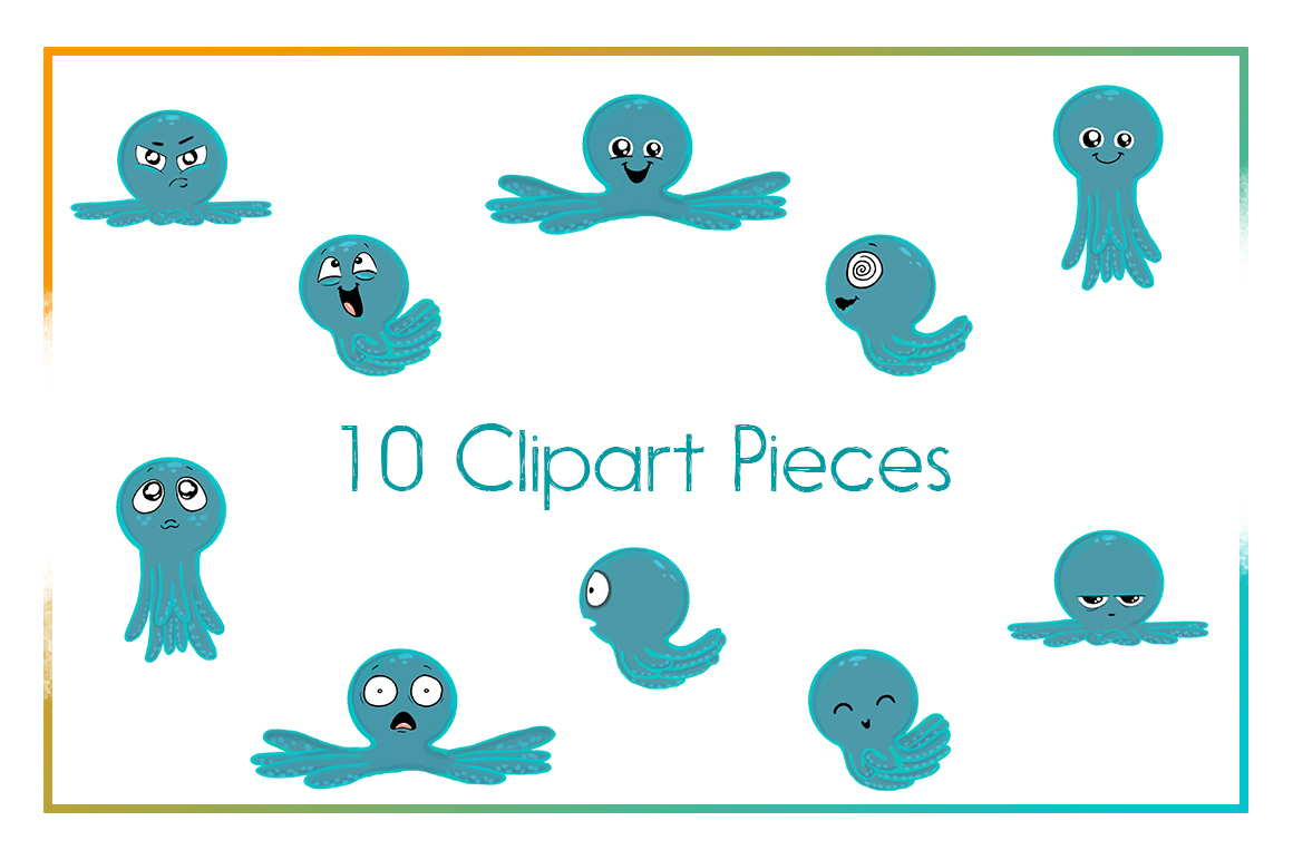 Octopus Emotions   Nautical Emotion Octopus Clipart  Octopus example image 2