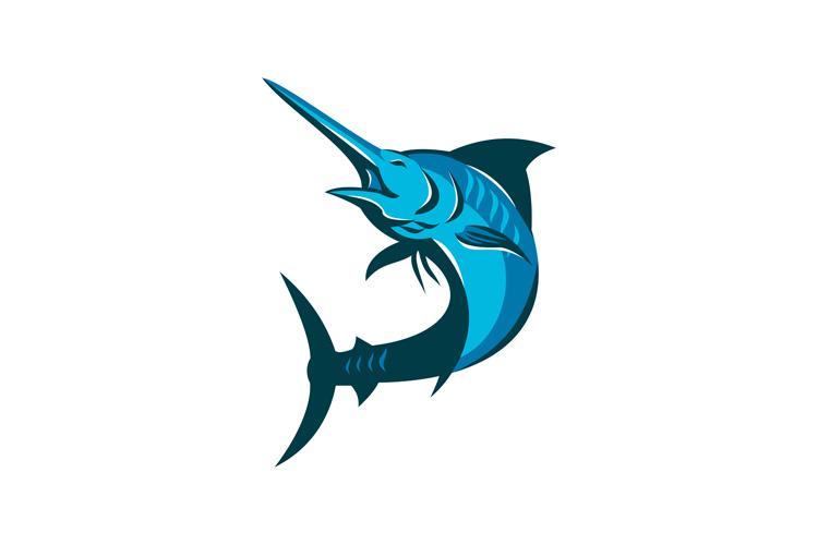 blue marlin fish jumping retro example image 1