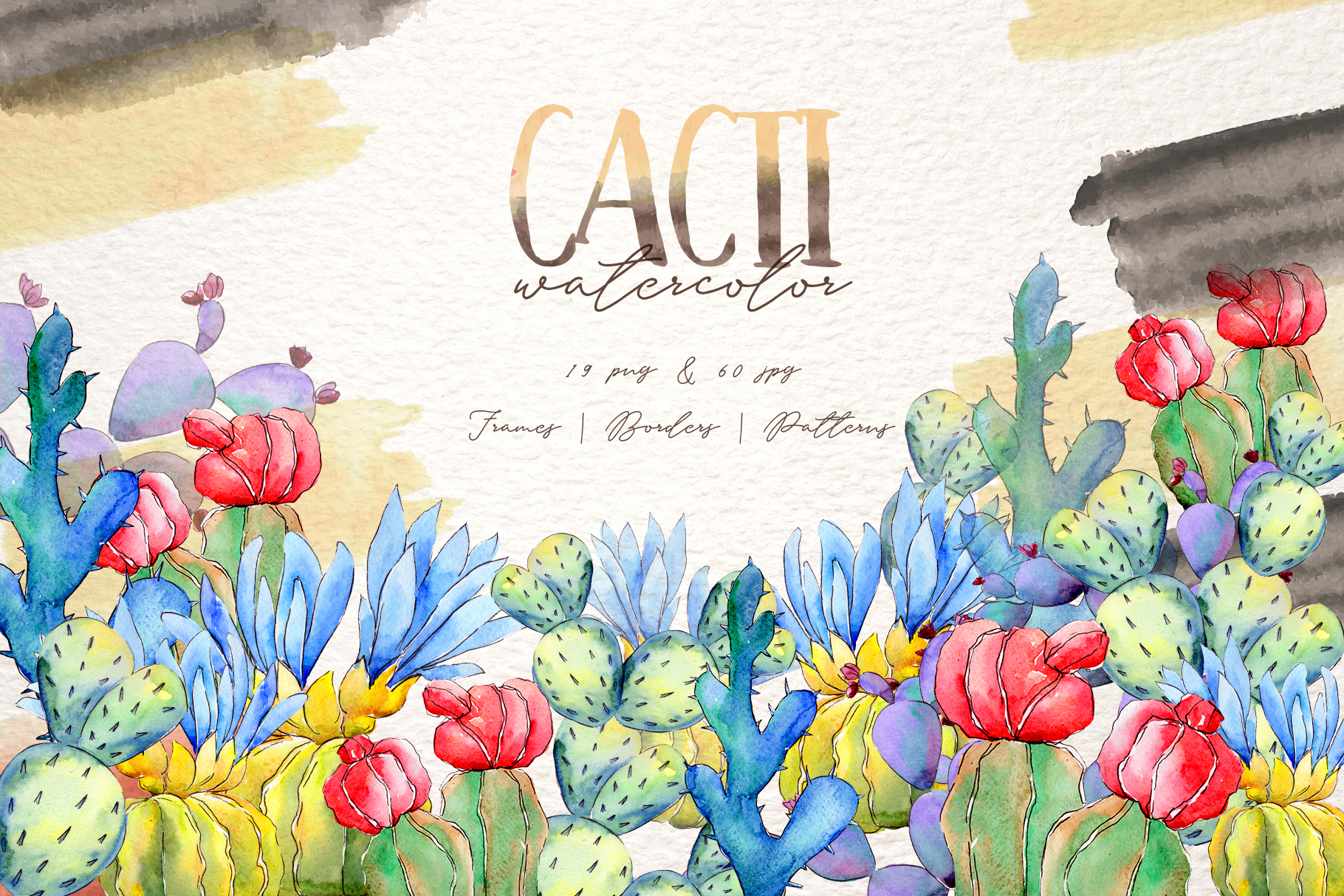 Cool colorful cacti PNG watercolor set example image 1