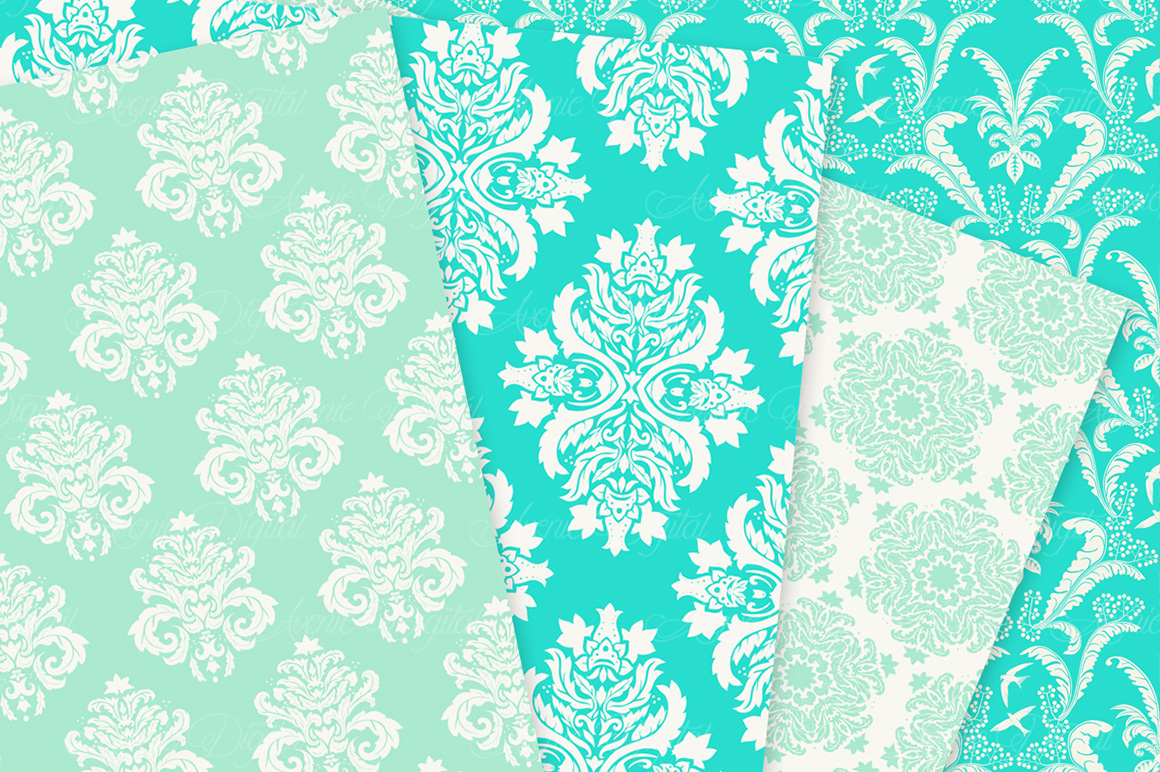 28 Mint Damask Patterns - Wedding Seamless Digital Papers Bundle example image 5