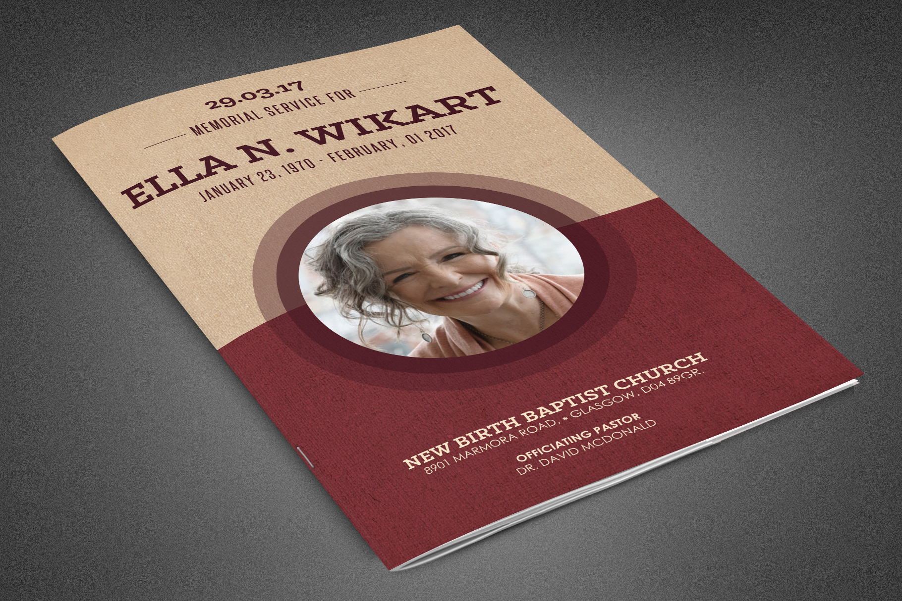 Cherished Funeral Program Template example image 1