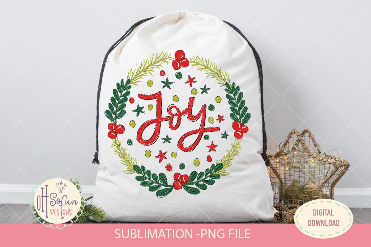 Joy christmas sublimation, christmas wreath doodle example image 2
