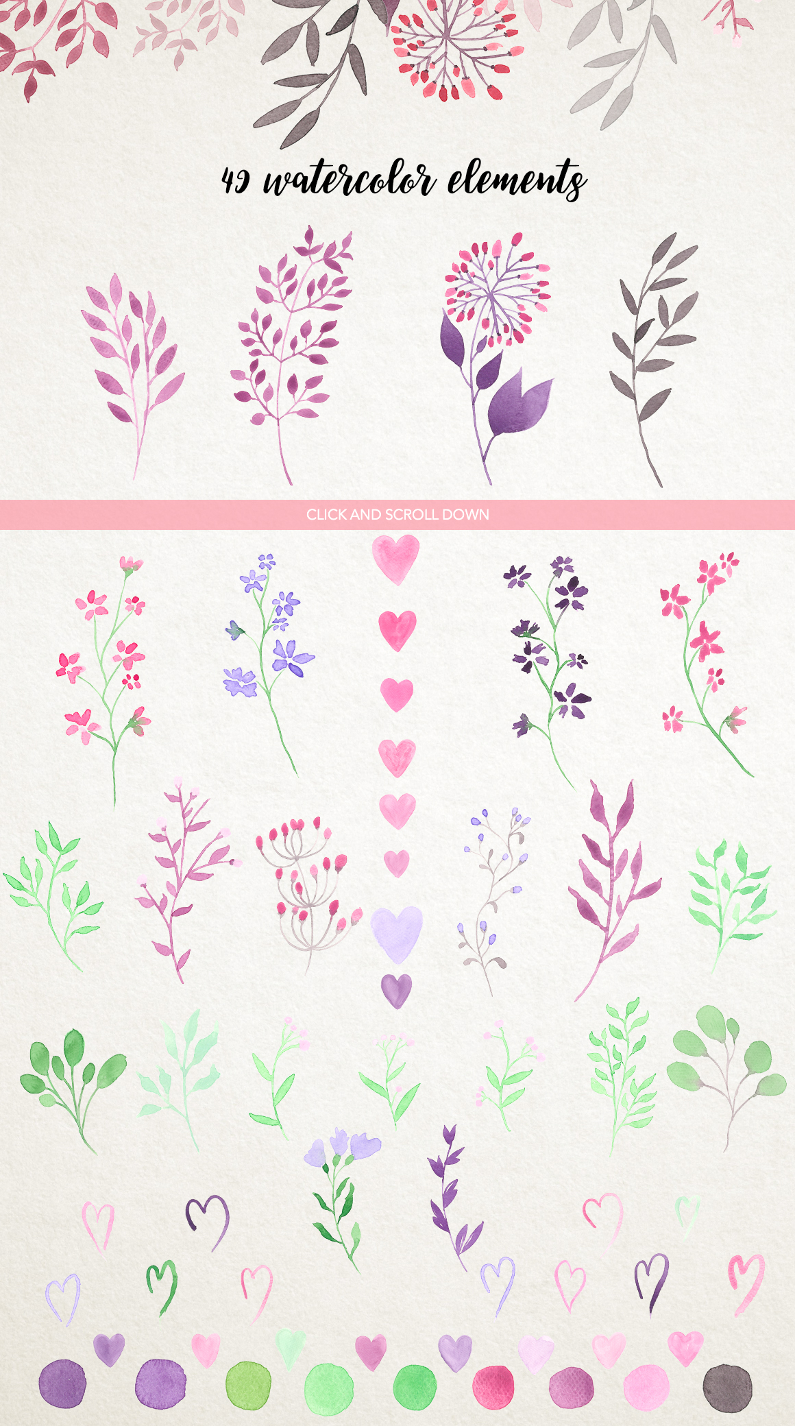 Watercolour floral borders& patterns example image 4