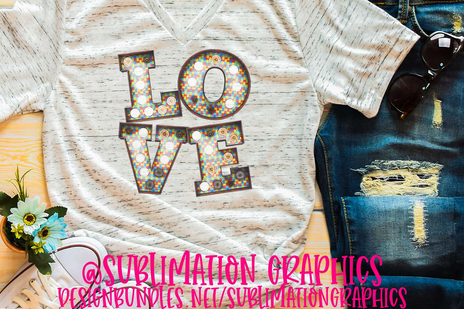 Autism Love Marquee Sublimation PNG example image 1