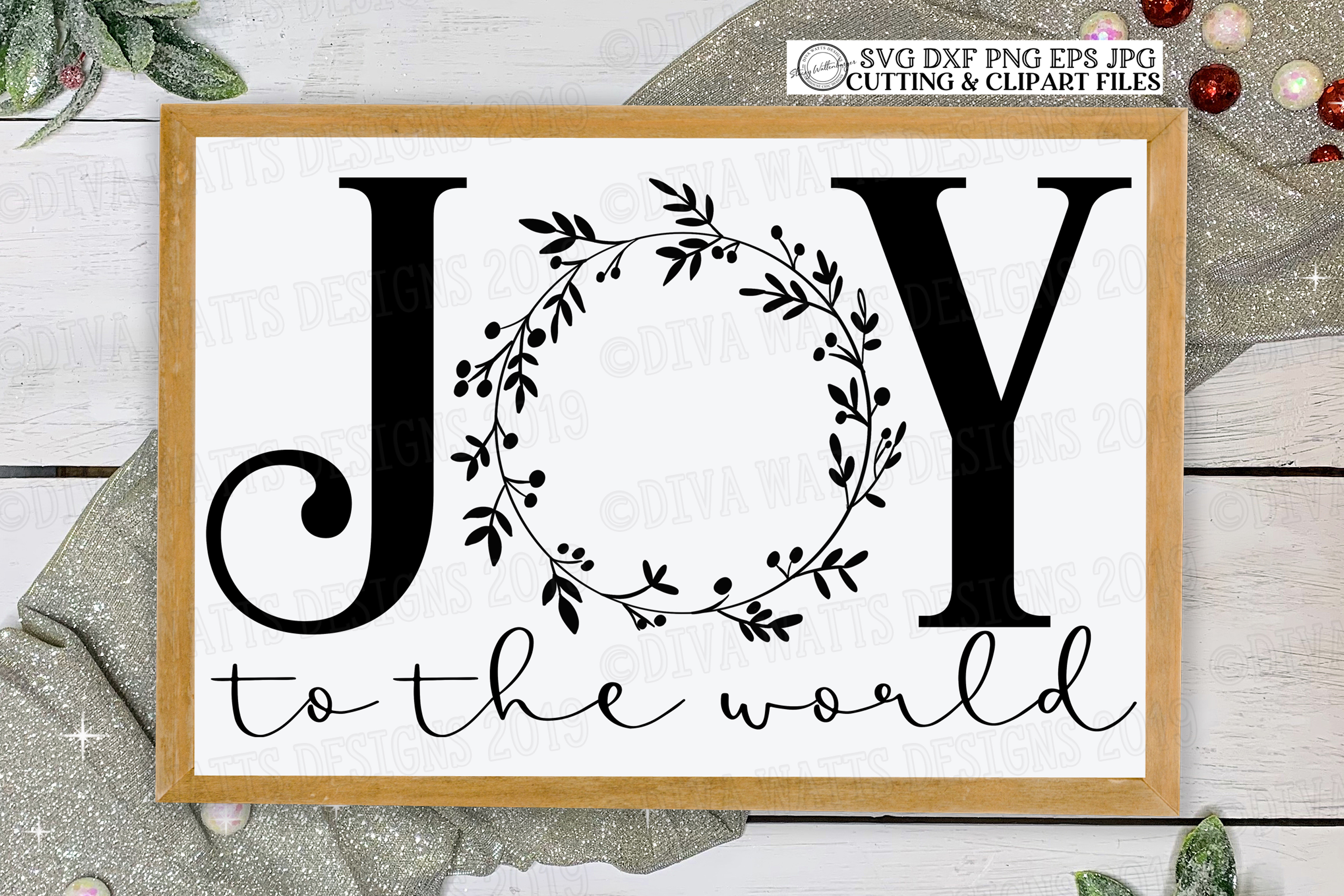 Joy To The World with Wreath Cutting File for Christmas example image 1