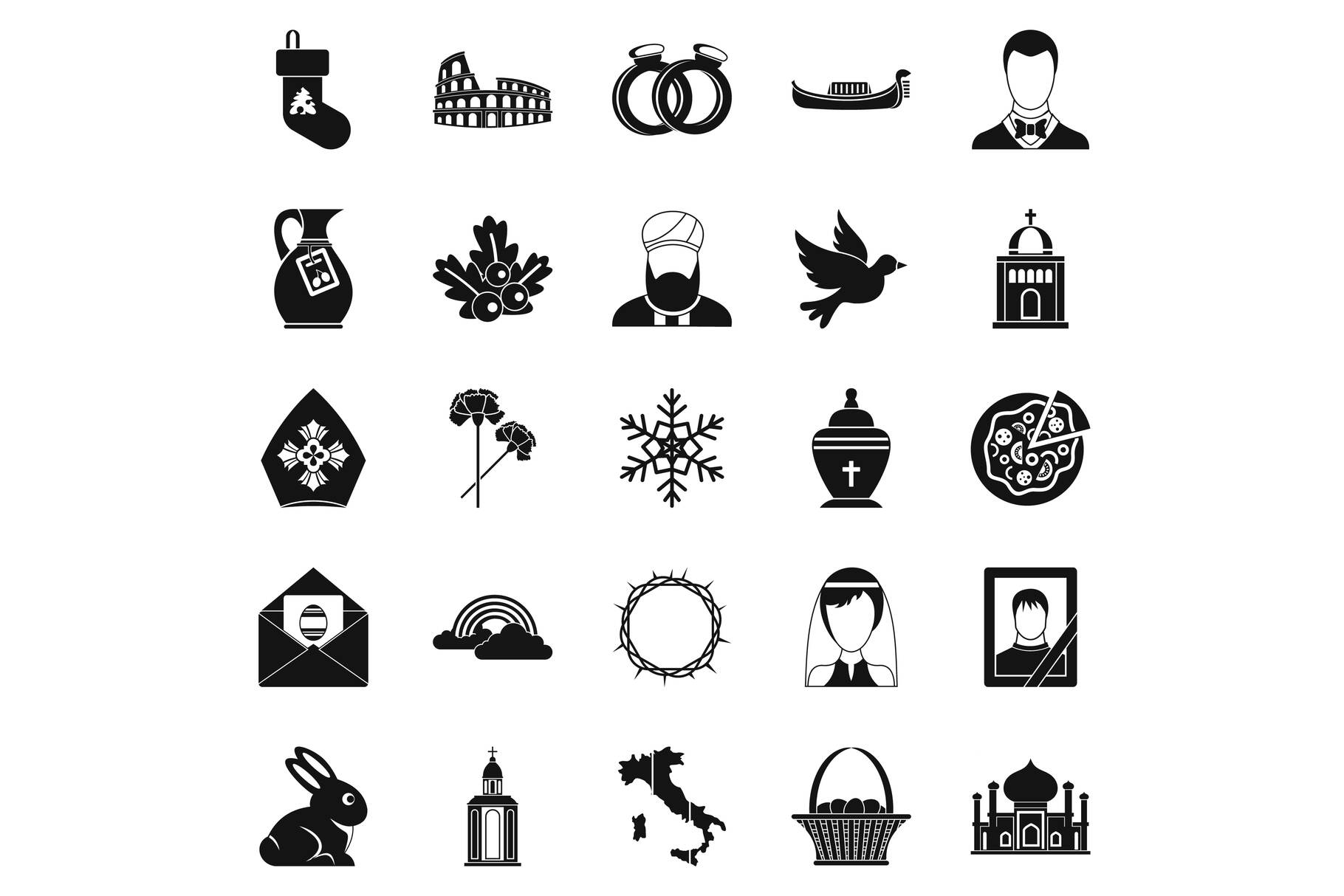 Church icons set, simple style example image 1